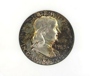 1963-D FRANKLIN SILVER 50 CENTS GEM++ UNC FBL AWESOME TONING! RARE THIS NICE!