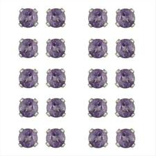 Set of 10 Silver 2ct Amethyst Stud Earrings, 3mm