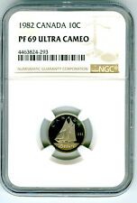 1982 CANADA PROOF 10 CENT NGC PF69 ULTRA CAMEO DIME SUPER RARE! POP=17