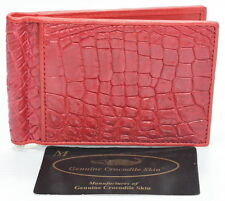 100% BELLY GENUINE CROCODILE LEATHER MONEY CLIP WALLET SHINY RED NEW