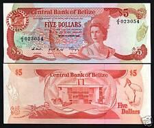 BELIZE $5 P47 1989 QUEEN BIRD LIZARD UNC RARE CARIBBEAN GB UK BANK NOTE