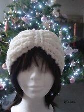 Bandeau tricot blanc, grosse maille , doux , chaud, hiver, cache oreille blanc