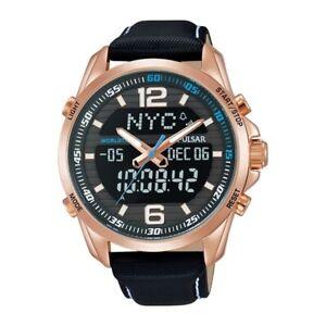 Pulsar Men's Watch Analog & Digital Stainless Steel Leather Black Dial PZ4006X1