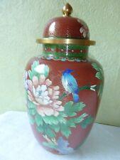 Vase Pot Couvert Urne Bronze Cloisonné Asiatique