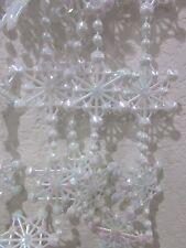 NEW White iridescent Star Garland Christmas Tree Holiday Decor Plastic 9 FT