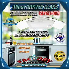 NEW DESIGN STAINLESS STEEL CURVED GLASS 900mm 90cm RANGEHOOD KITCHEN CANOPY