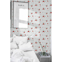 Small red flowers Removable wallpaper red and white wall mural wall covering