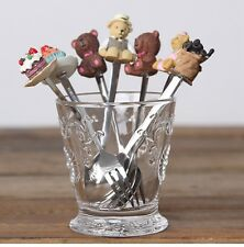 Resin Dessert Cake Ice Cream Stainless Steel Fork Spoon Set Coffee Stir Teaspoon