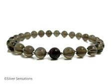 Brown Smokey (Smoky) Quartz Unisex Bracelet With Red Garnet & Sterling Silver