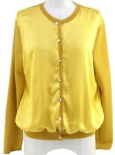 YSL YVES SAINT LAURENT Cardigan Sweater Knit Dress Top Yellow Silk Wool Sz 40
