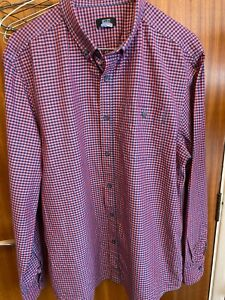Mens shirt, F&F, Red Checked, Long Sleeve Size L 41/43in 100% Cotton