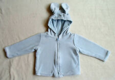 "Gymboree ""Brand New Baby"" Light Blue Zip Hoodie 6-12 Months with Bunny Dog Ears"
