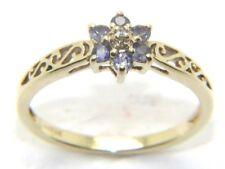 Mujer Mujer 9 Ct 9 Ct Oro Amarillo Diamante & Morado Anillo Talla N ½
