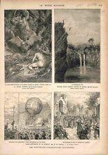 Paris Versailles Montgolfière Marie-Antoinette Divine Comédie Dante GRAVURE 1878