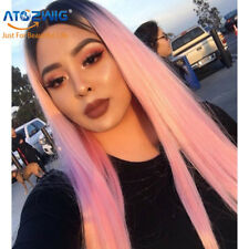 Long Straight Synthetic Hair Ombre Pink Wig Middle Part Natural Wigs for Women