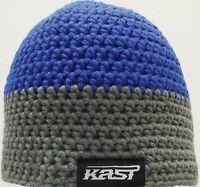 Kast Extreme Fishing Gear Crocheted Beanie Blue & Grey NWT