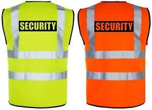 SECURITY SIA Hi-Vis High-Viz Visibility Safety Vest/Waistcoat | Yellow/Orange
