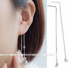 2pc 925 Sterling Silver Thread Drop Long Chain Earring Women Jewellery Accessory