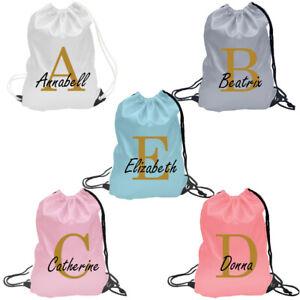 Personalised Initial Name Drawstring Bag, PE Kit School Sport Gym Kids Backpack