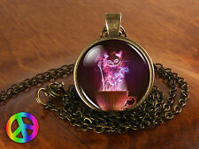 Alice in Wonderland Wispy Cheshire Cat Fashion Necklace Pendant Jewelry Art Gift