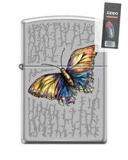 Zippo 6575 Butterfly Brushed Chrome Finish Full Size Lighter + FLINT PACK