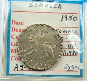 1950 SOMALIA SILVER 1 SOMALO UNCIRCULATED  BX313C