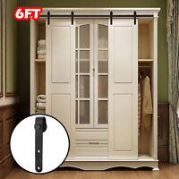 6FT Steel Sliding Barn Double Door Hardware Cabinet Closet Track Set Kit Antique