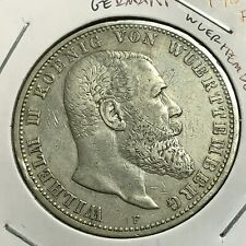 1907-F  GERMANY WUERTTEMBERG SILVER 5 MARKS CROWN COIN