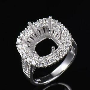Customizable Cushion 11×11MM Natural Diamond Prong Ring Setting 14K White Gold
