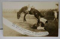 O.G. Allen Fallen Rider Pendleton Round Up RPPC Photo Postcard Rodeo Antique Vtg