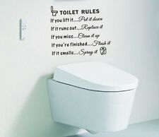 Toilet Rules Quotes Words Wall Sticker Vinyl Art Decal DIY Washroom Toilet Decor