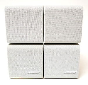 2 Bose Double Cube White Speakers DoubleShot Acoustimass Lifestyle Home Theatre