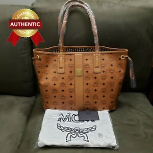 NEW Authentic MCM Medium Reversible Liz Shopper tote Cognac