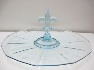 Vintage Fostoria Glass Fairfax Serving Tray Center Handled Fleur De Lis Blue