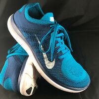 Nike Free Flyknit 4.0 631053-401 Mens Blue Canvas Athletic Running Shoes 11 US