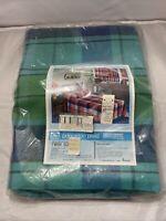 Vintage SEALED PRINCETON PLAID JC Penney Fashion Manor Bedspread TWIN BLUE GREEN