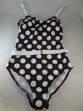 NWOT Lindy Hop Lovely at the Lake Black white 1pc Swimsuit sz M See Measure