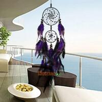 Purple Feather Handmade Dream Catcher Wall Hanging Home Car Decor Ornament Gift