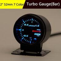 """2"""" 52mm Smoke Lens 7 Color LED Turbo Boost Gauge -1 1.5 BAR Vacuum Press Meter"""