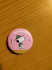 "Peanuts 2013 Sdcc Snoopy Promotional Button 1.25"" New Pink Camping Scout"
