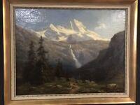 Gemälde, Öl/Lw, Gustav Hausmann (1827-1899), signiert, Blick ins Gebirge, 96x119