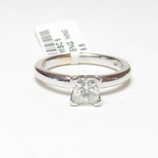 Estate 18K White Gold 0.58 Ct Princess Cut Diamond Solitaire Ring With Tag
