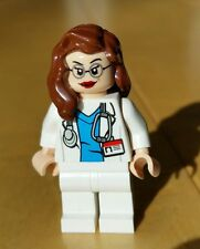 Genuine LEGO FEMALE Minifigure Doctor Nurse Surgeon Lt Flesh Brown Hair Glasses
