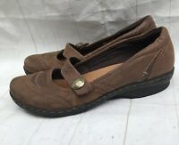 Women's Clarks Artisan Mary Jane Wedge Loafers Shoes Size 7.5W Brown Leather