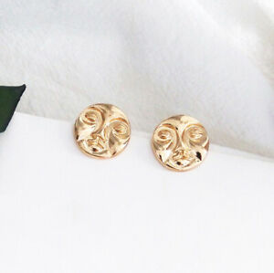 Moon Face Round Circle Gold Earrings Studs. Zara Plated Style Fashion Jewellery