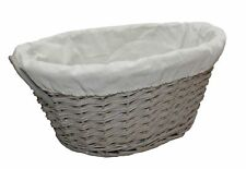 Grey Willow Wicker Oval Lined Washing Laundry Ironing Storage Basket Handles