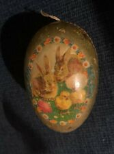 """Vtg Egg Paper Mache Rabbit Chicks Flowers Candy Container 4 1/2"""" Germany Nice!"""