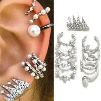 9PCS/Set Ear Clip Earrings Bohemia Ear Cuff Stud Crystal Ear Earrings Jewelry MA