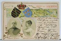 Saxony Germany GRUSS aus SACHSEN Konig Albert & Konigin Carola 1900 Postcard K18