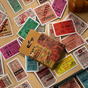 Mini Box Set of 50 Vintage Music Gig Tickets Journal Scrapbook Paper Stickers